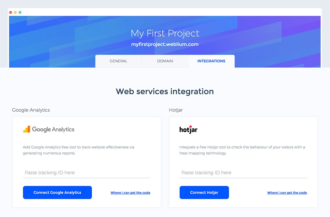 How to create a website step by step. Connect web analytics
