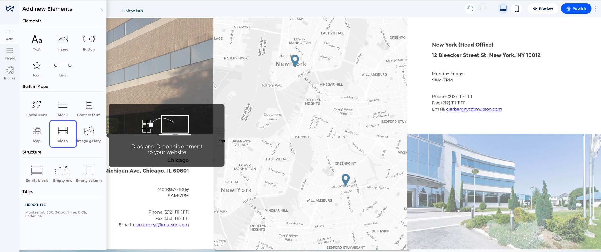 How to create a website step by step. Add map to website
