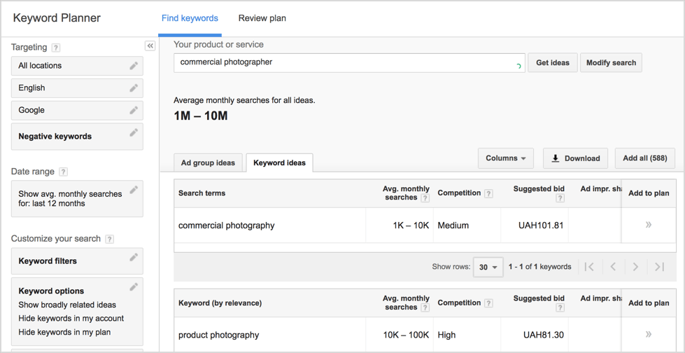 LinkedIn for photographers. Keyword planning