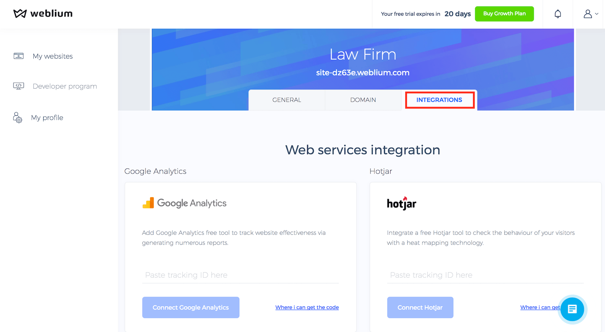 Weblium integrations with Analytics