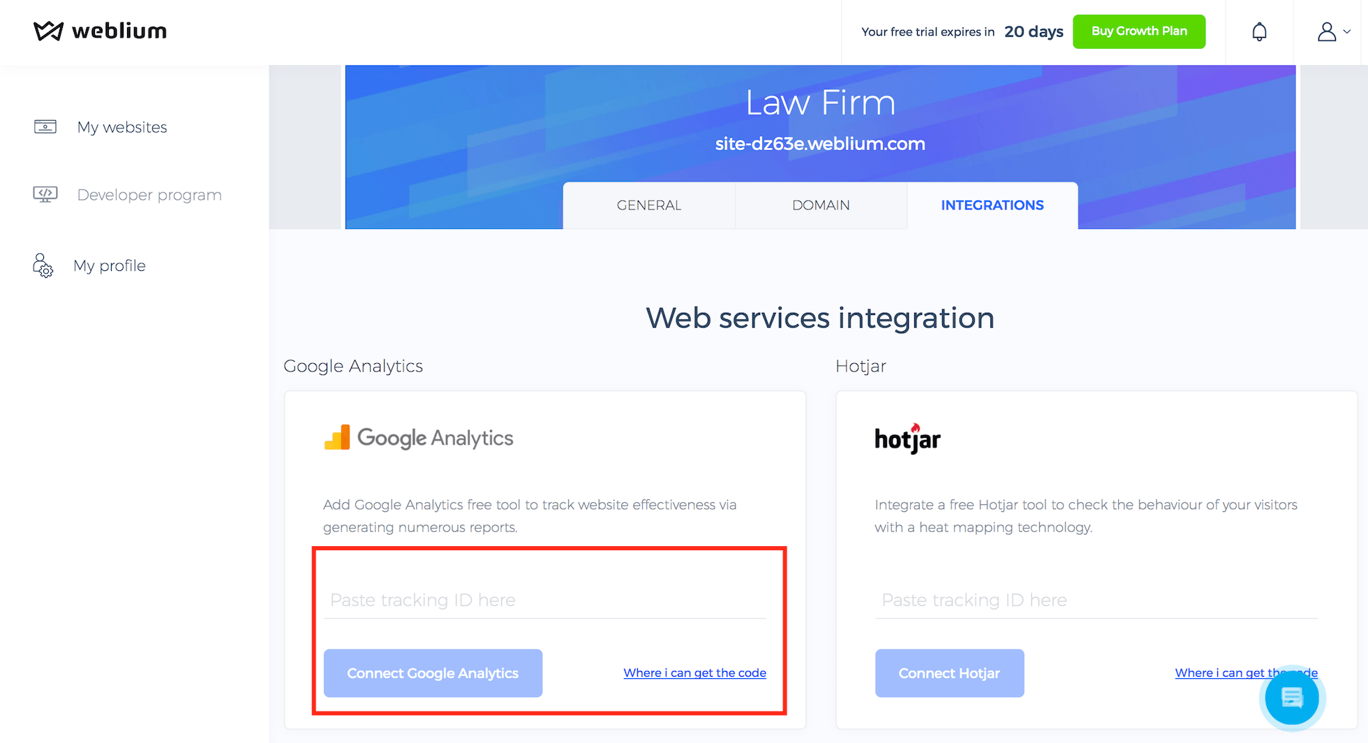 Connect Google Analytics on Weblium