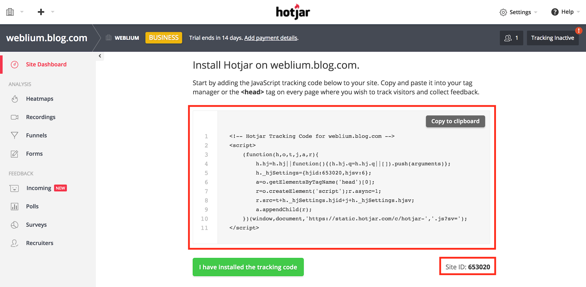 Integrate HotJar with your Weblium website
