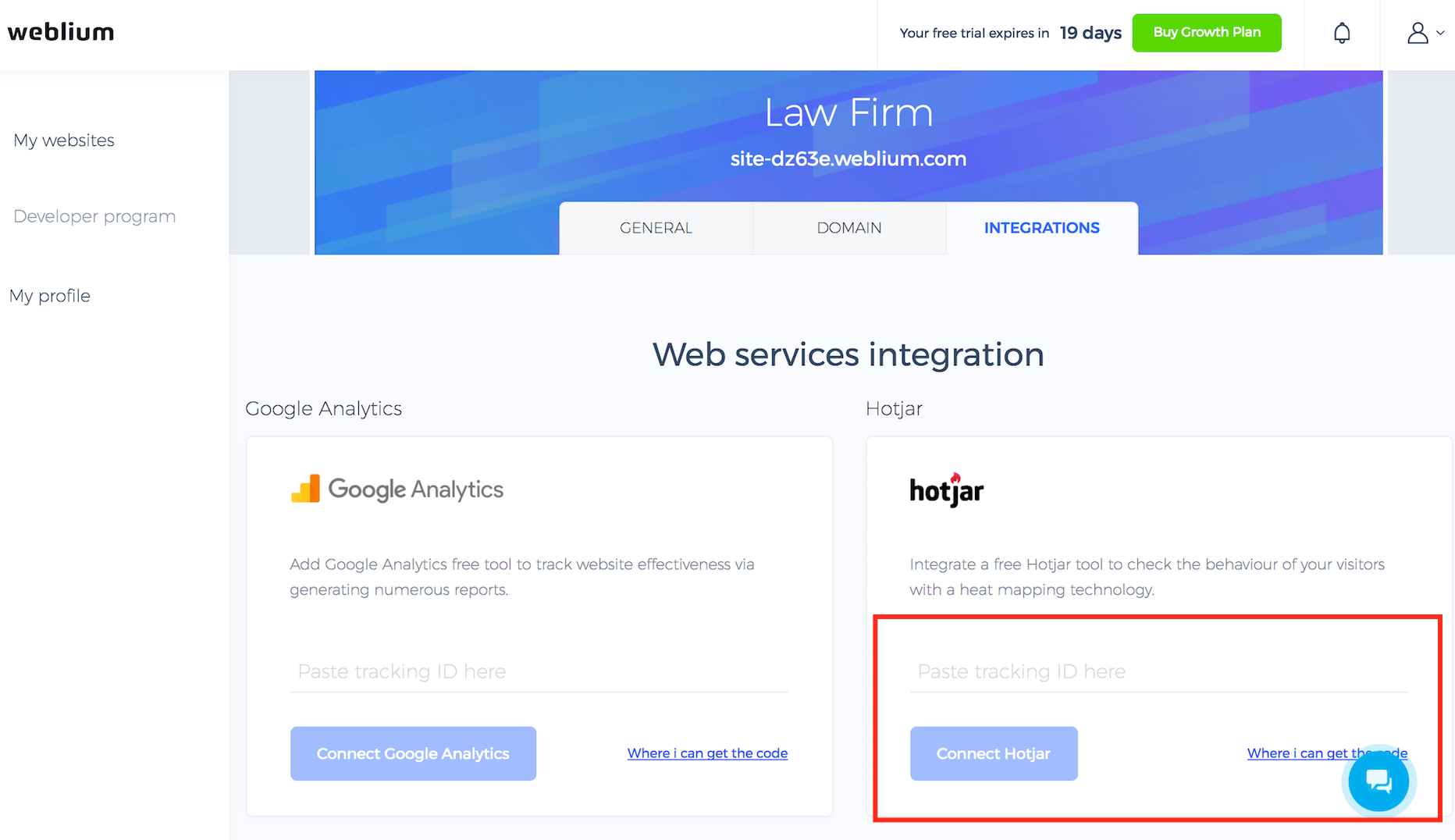Connect Hotjar to your website on Weblium