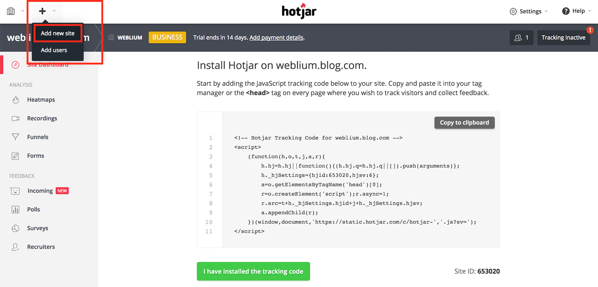 Add new site on Hotjar