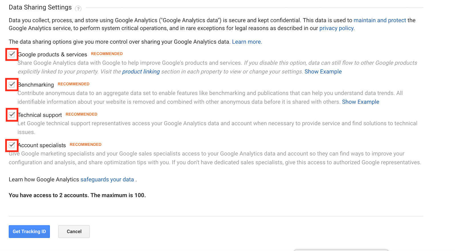 Choose data sharing settings on Google Analytics