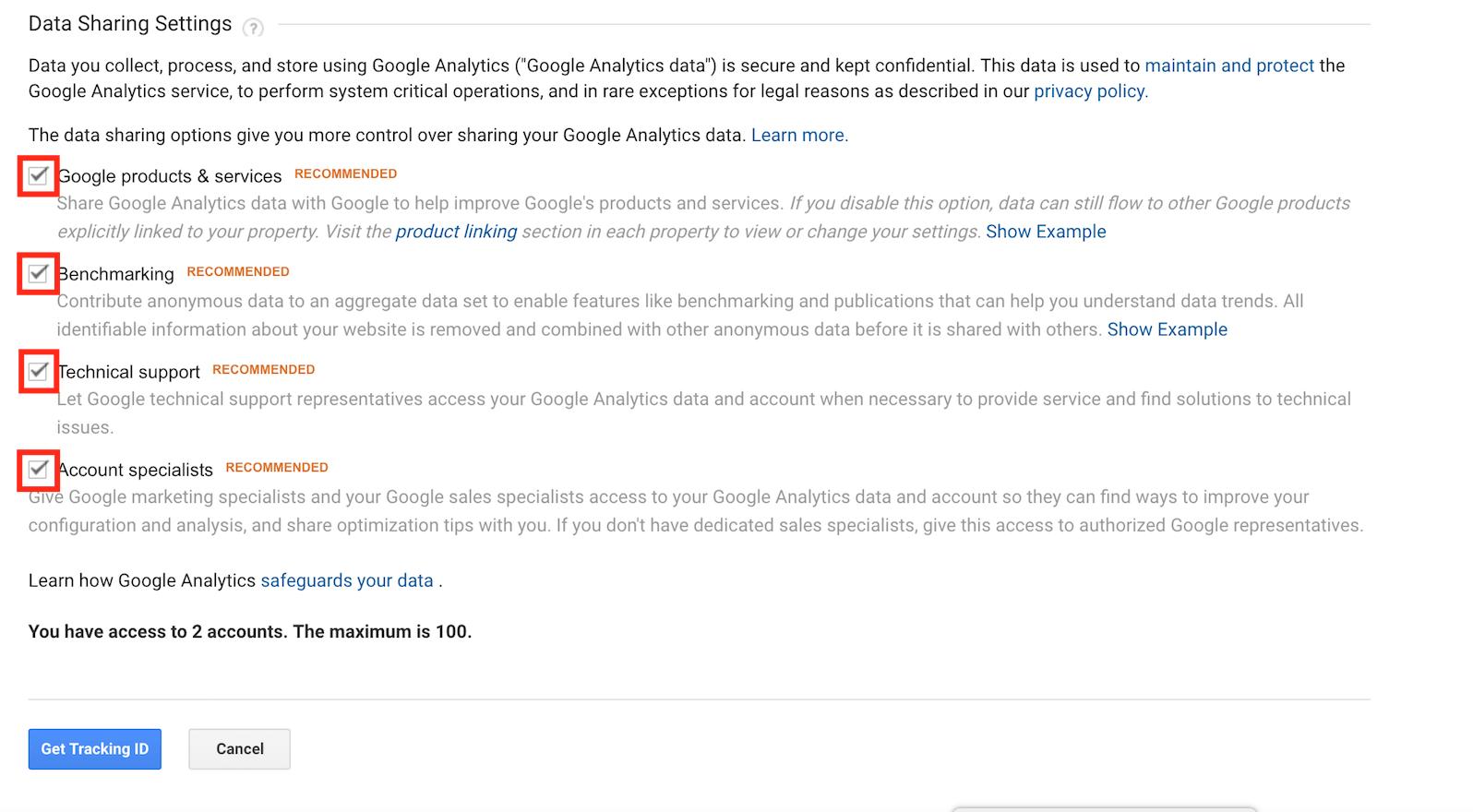Choose data sharing settings on Google Analytics