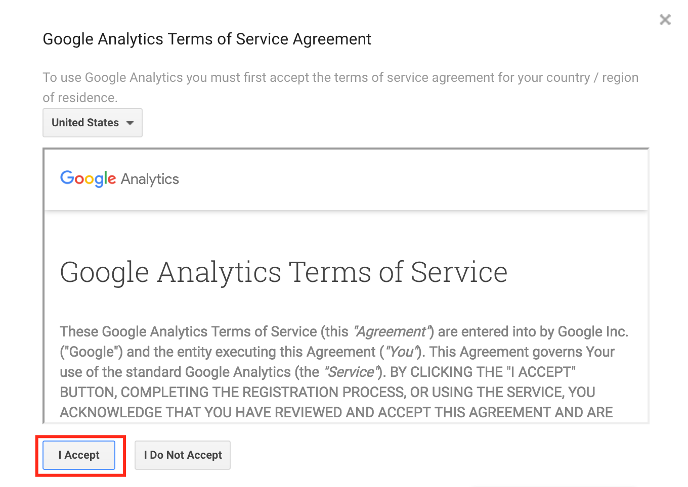 Accept terms of service on Google Analytics
