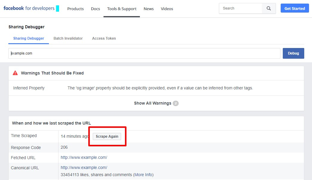 Update Facebook Link Preview. Ask Facebook to Scrape the URL Again
