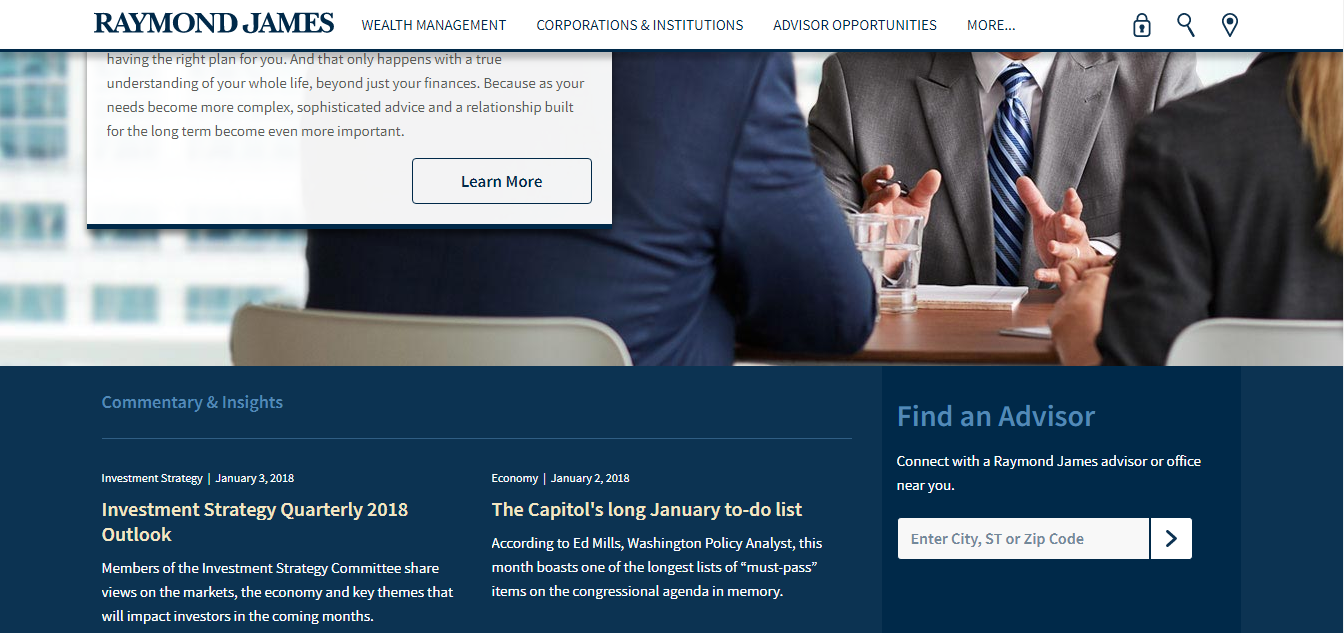 Financial advisor website CTA