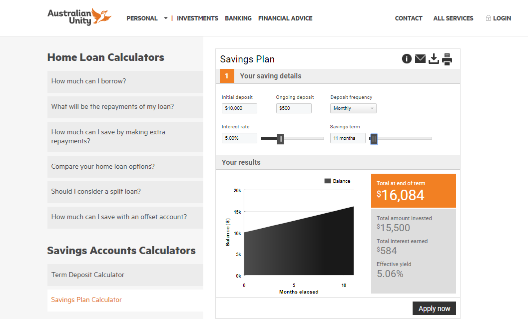 Saving calculator on financial advisor website