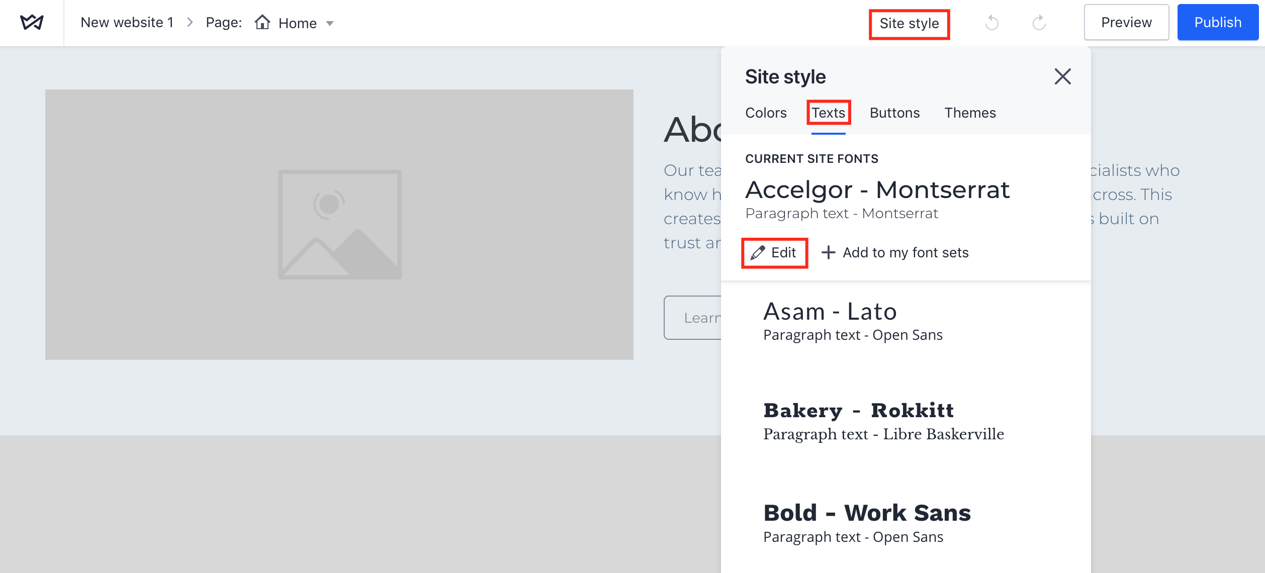 How to change font style on Weblium