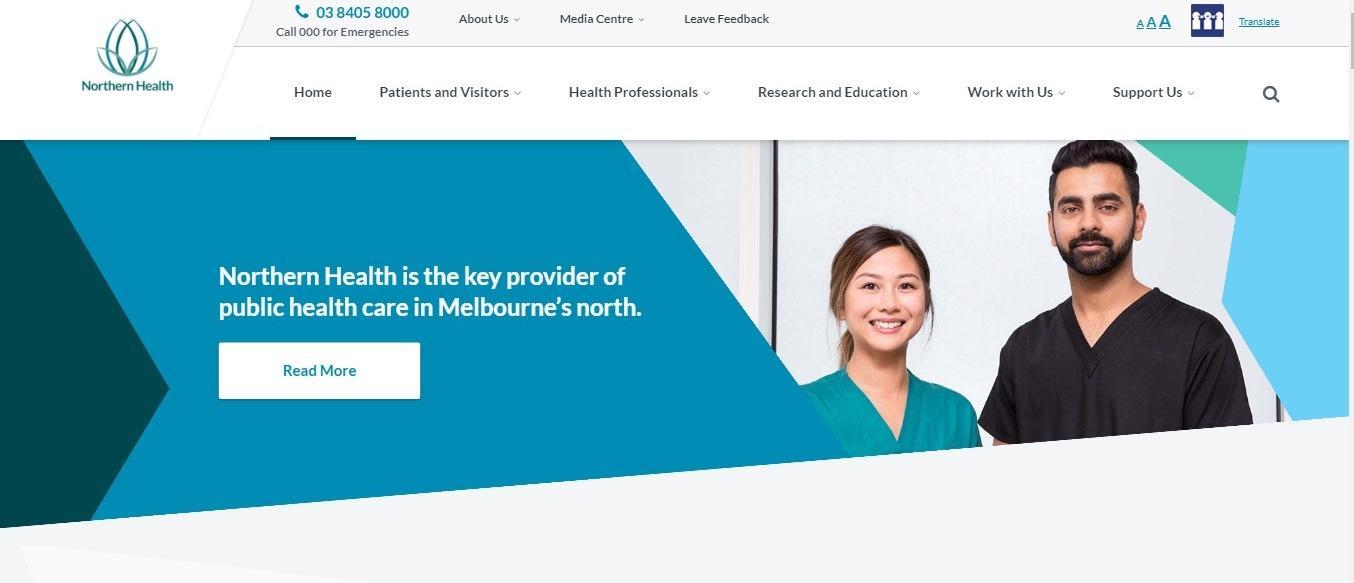 Northern Health website - Weblium