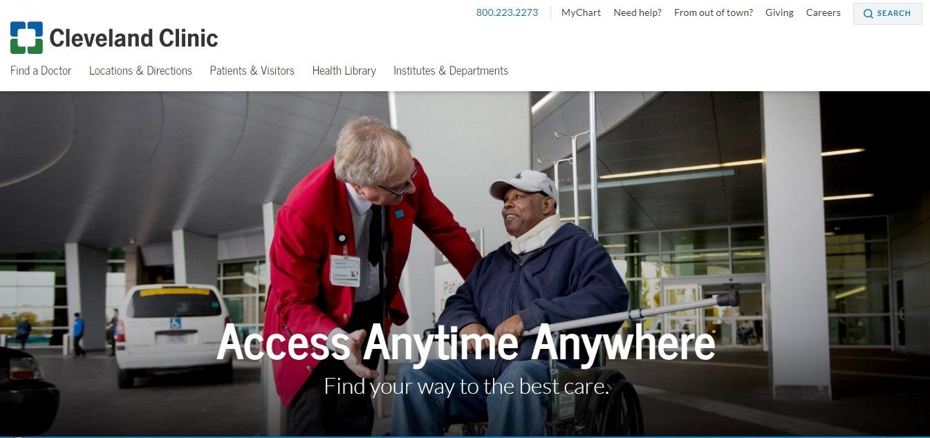 Cleveland Clinic - healthcare website example - Weblium