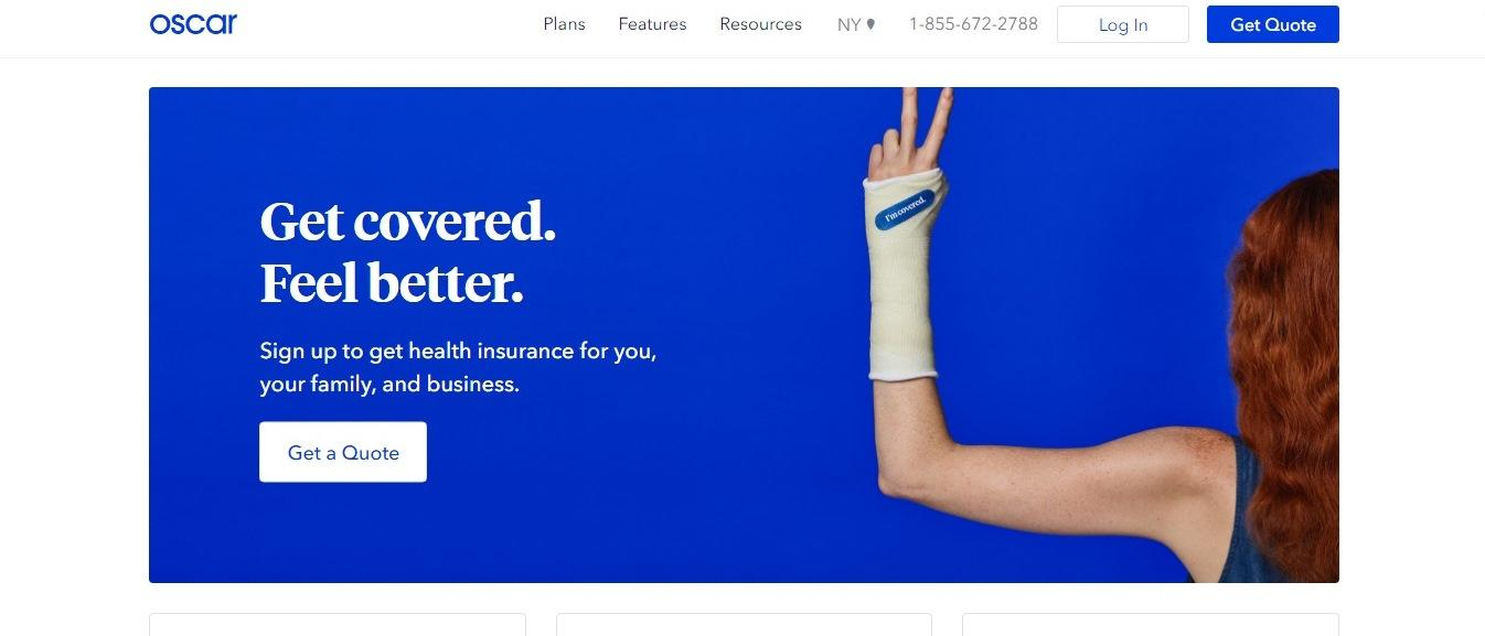 Oscar health website - Weblium