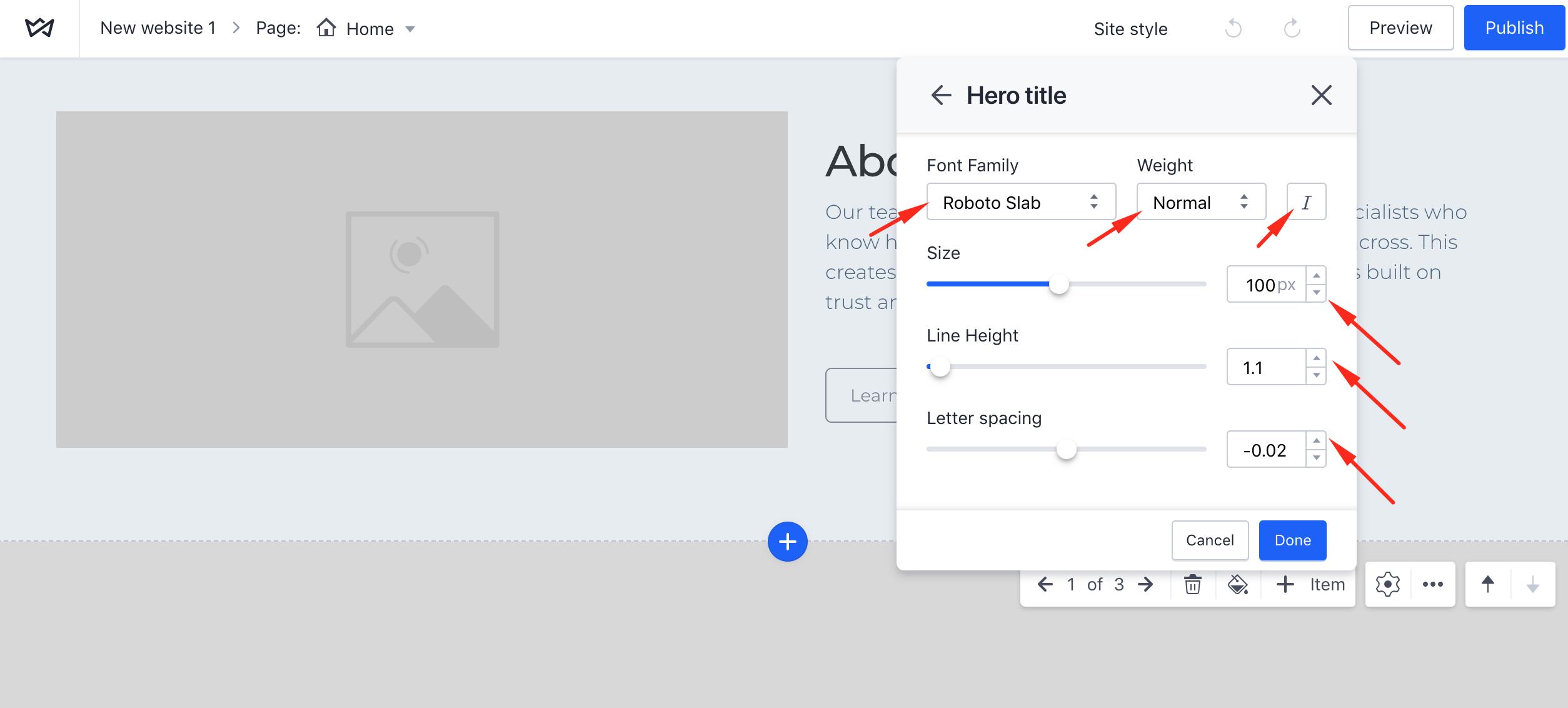 How to change typography settings on Weblium