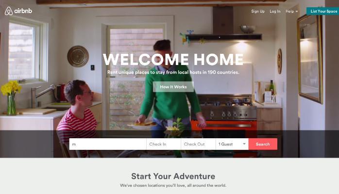Airbnb website - weblium.com