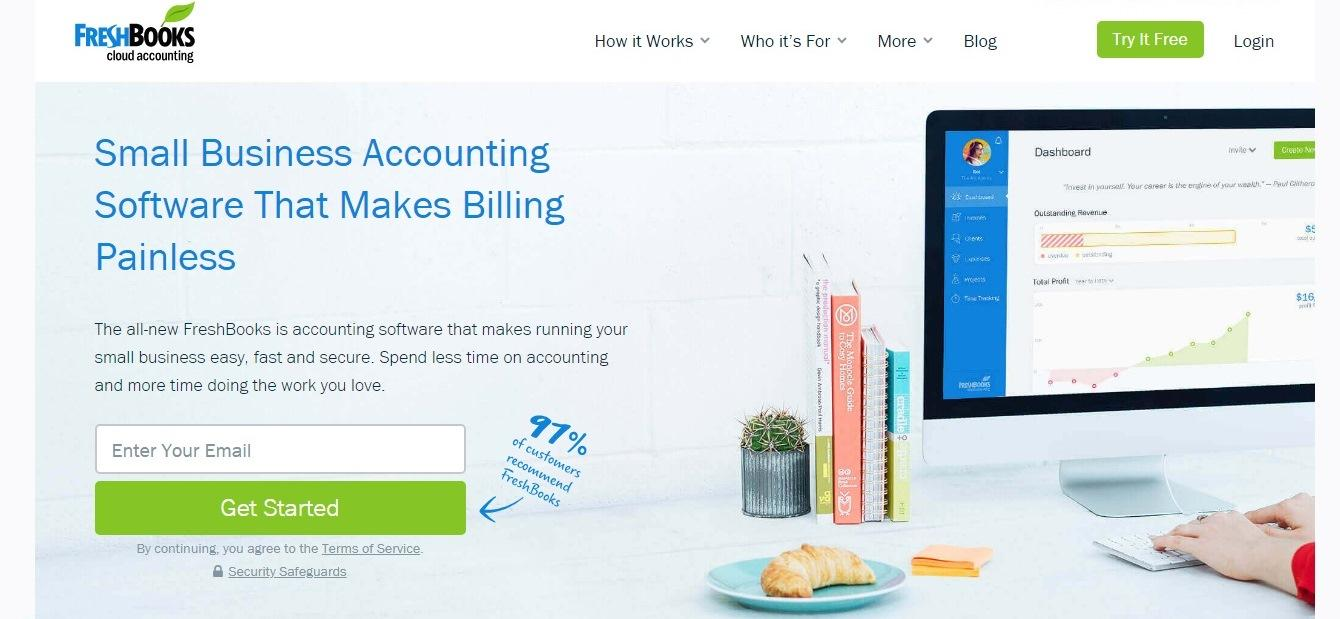 FreshBooks website - weblium.com