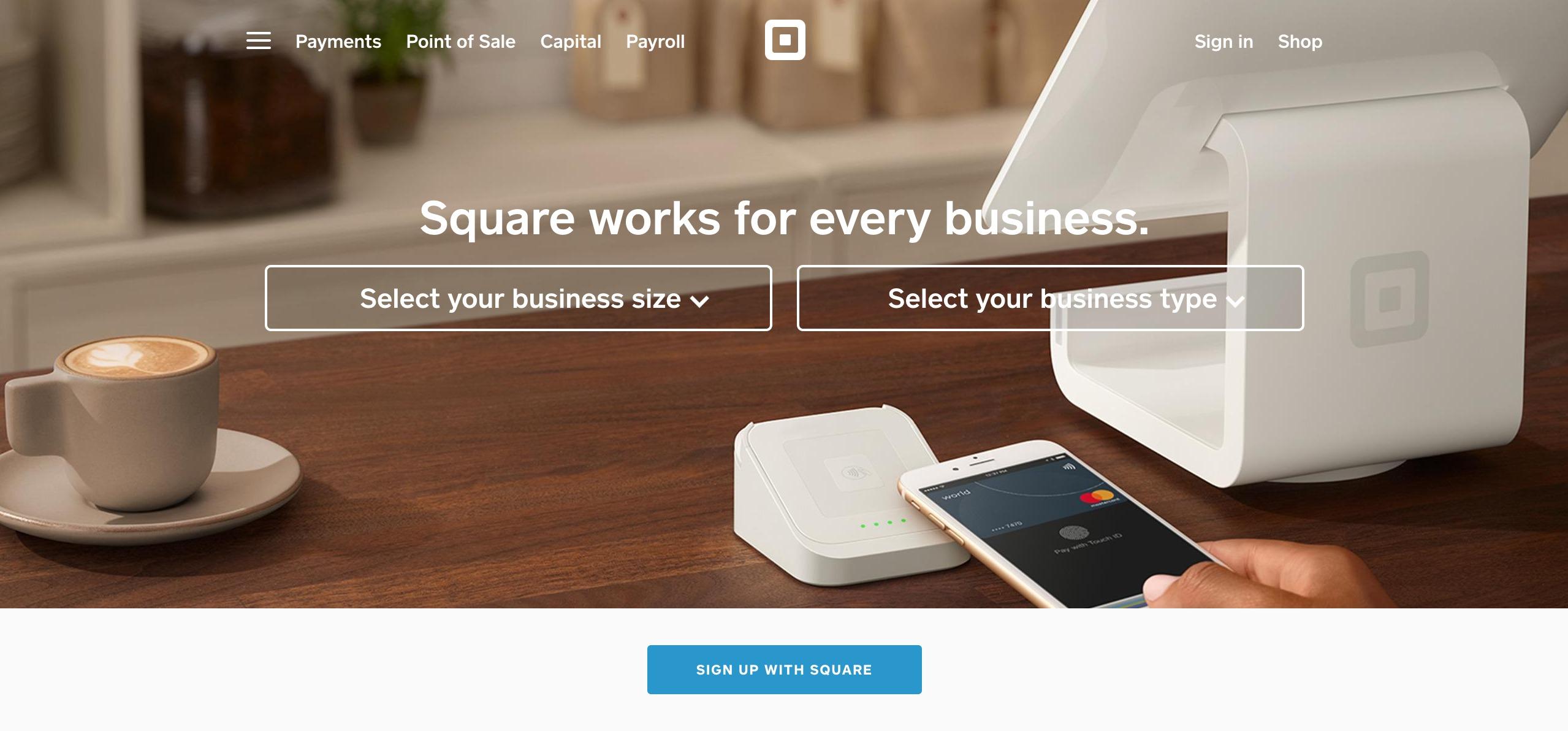 startup website design - Squareup