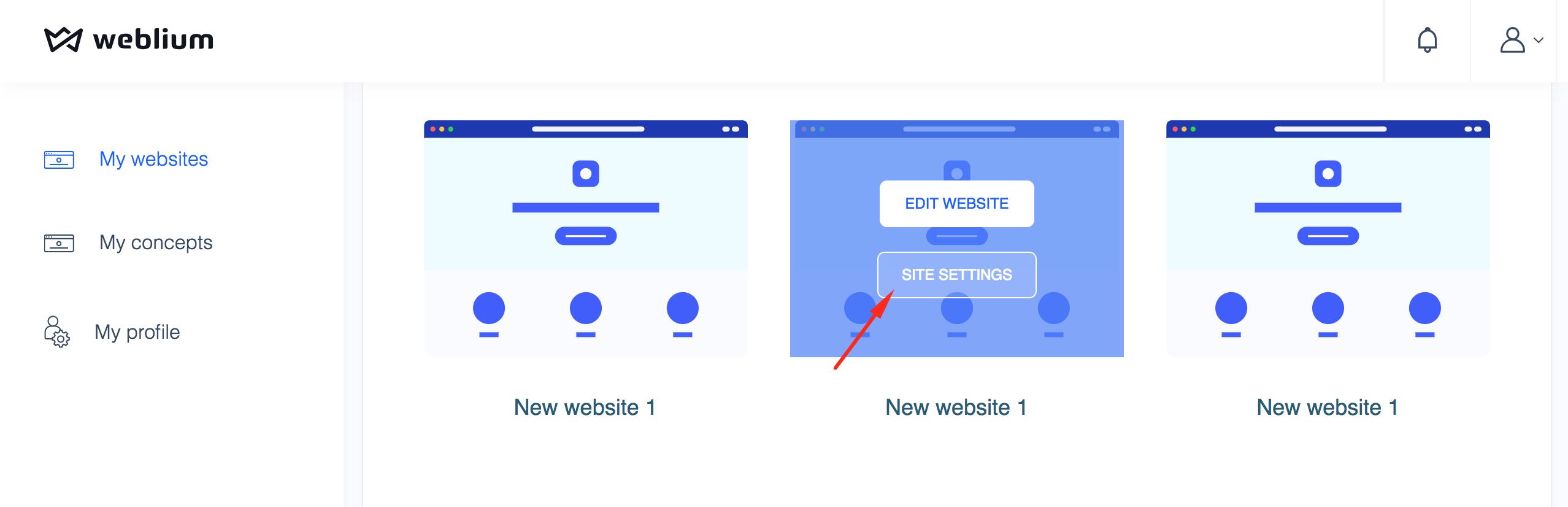 Go to site settings from My Websites menu - Weblium
