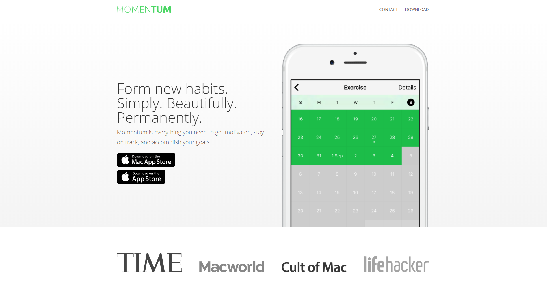Momentum one page website example - Weblium