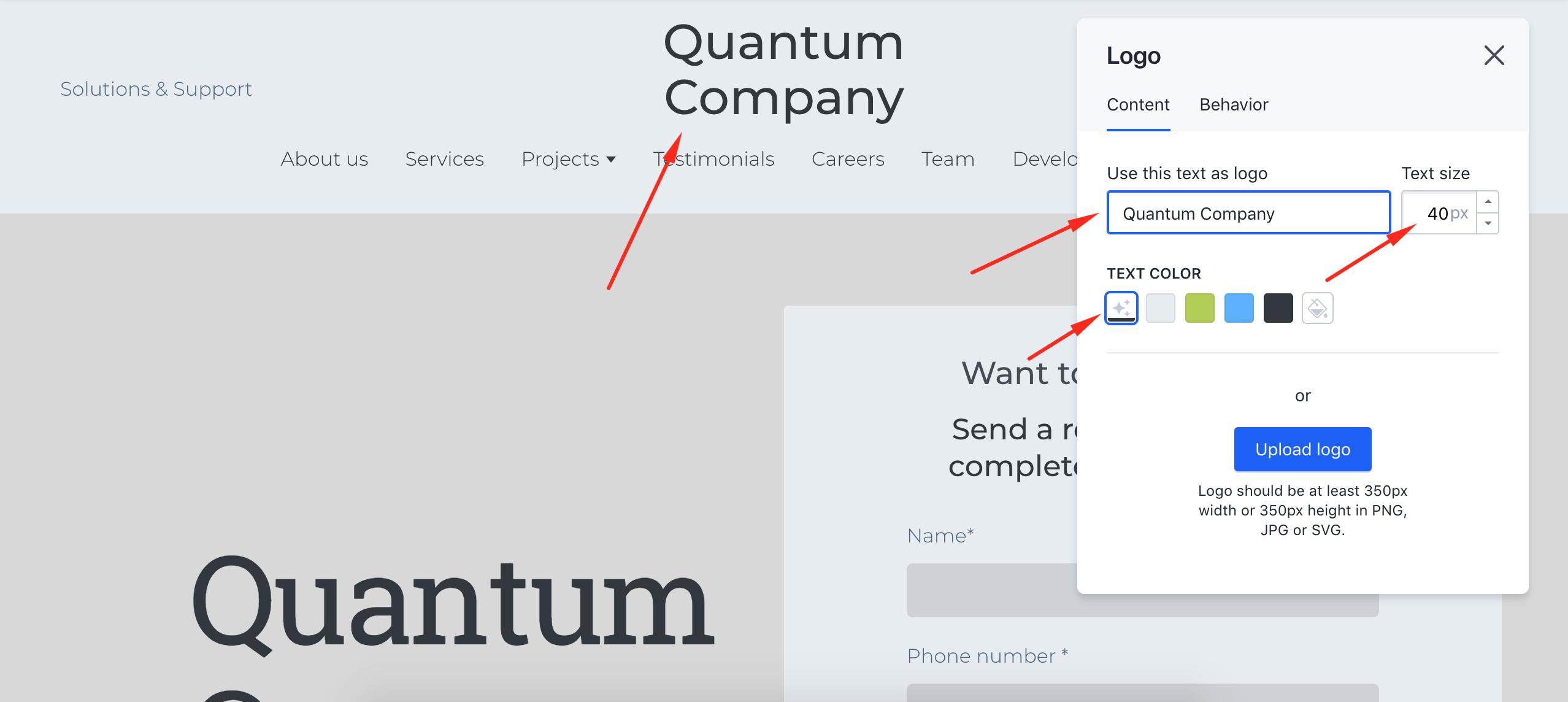 Create a text logo - Weblium