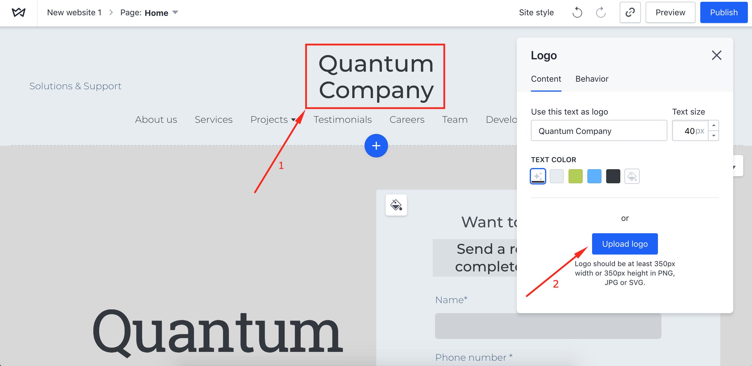 How to upload logo - Weblium