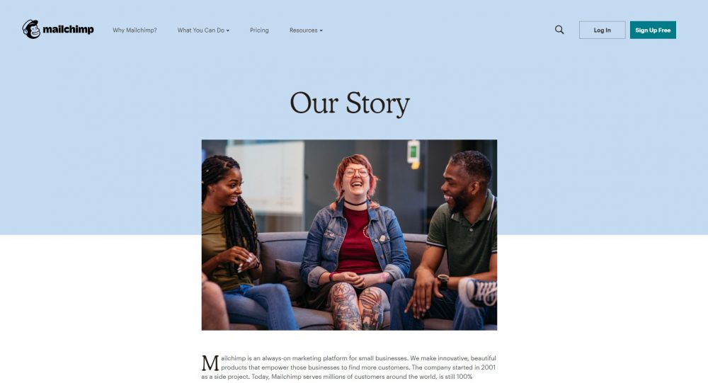 about me page examples