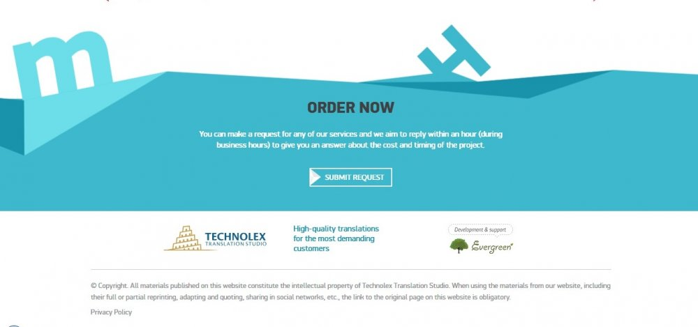 Technolex Translations: the best example of an innovative footer design