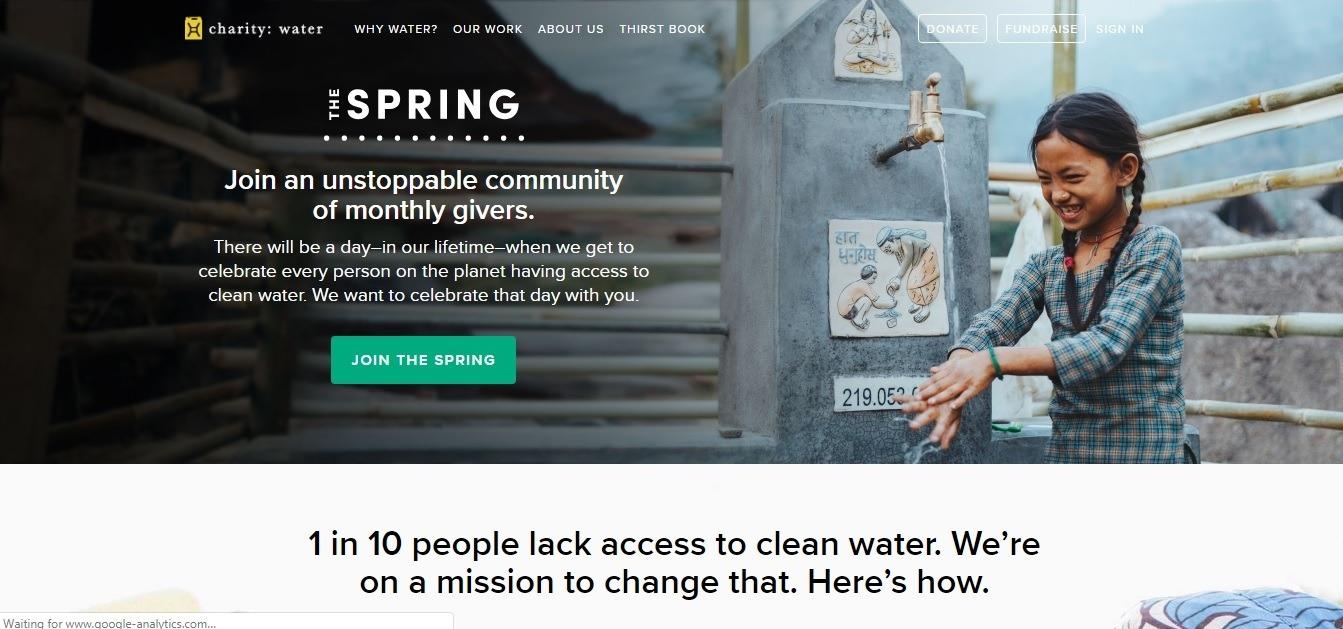 Charity: water website - weblium blog