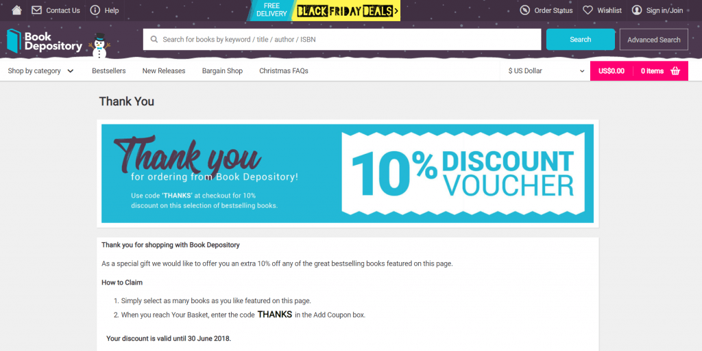 Book Depository thank you page