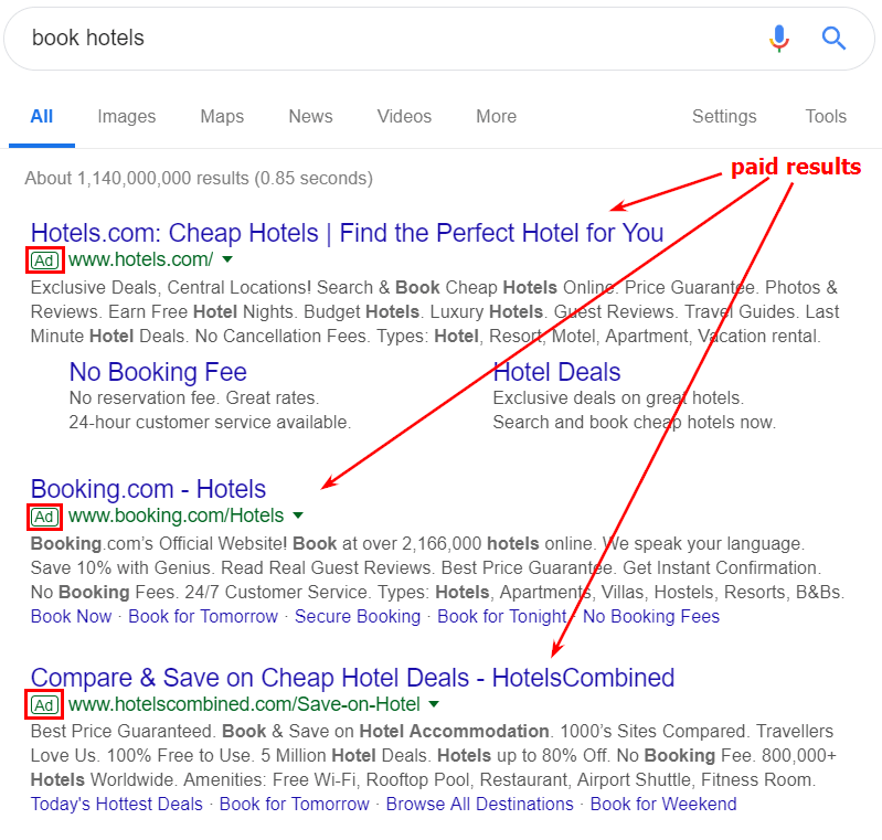 paid search results | weblium blog