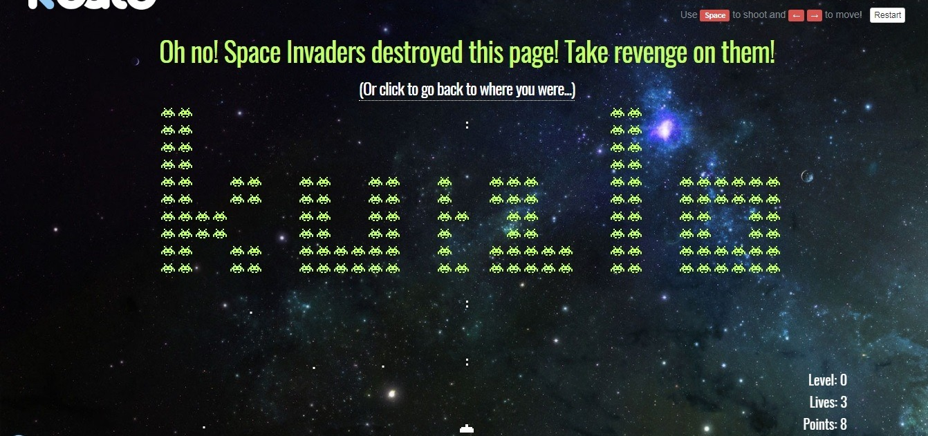 Kualo: best interactive retro game 404 page
