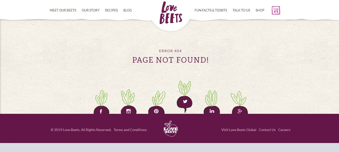best social marketing-oriented 404 page - weblium blog