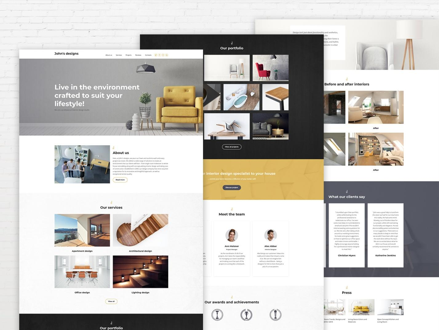 interior design website template - weblium blog