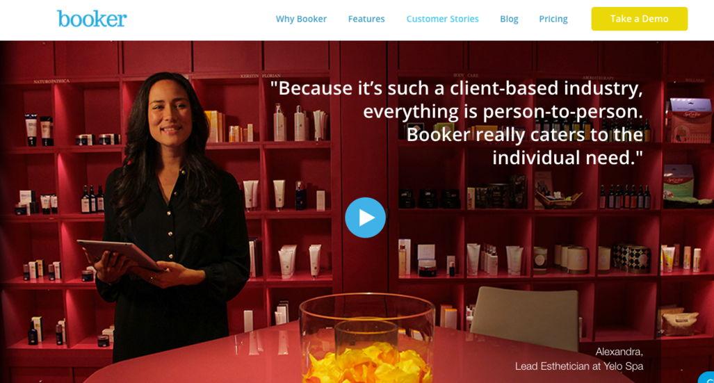 Booker testimonials example - weblium