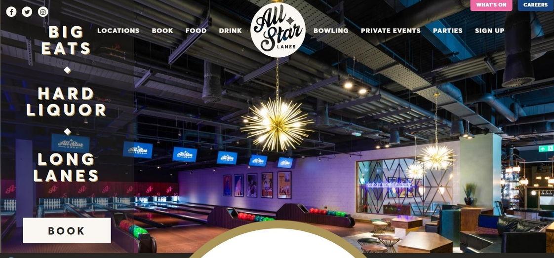 All Star Lanes retro design - weblium