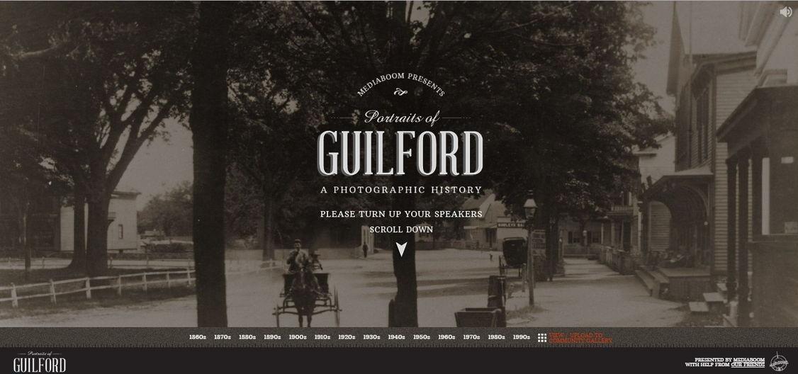 Portraits of Guilford (Crunchies winner) retro website design - weblium