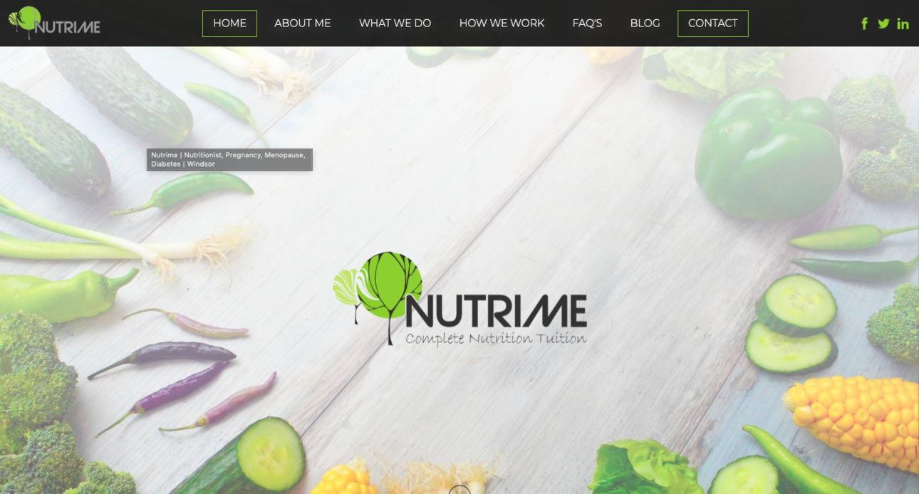 Nutrime website redesign - weblium