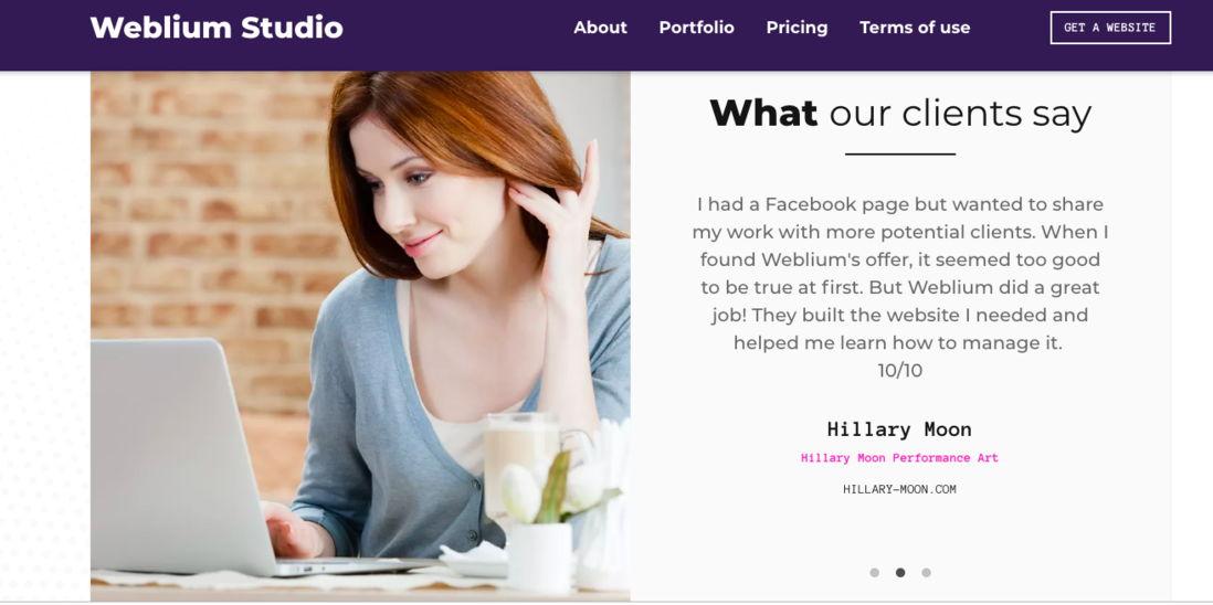 weblium studio testimonials page examples