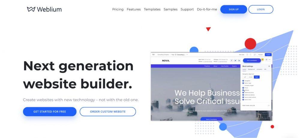 website header - weblium blog