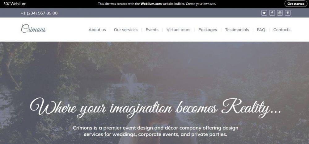 Crimons event decoration agency website