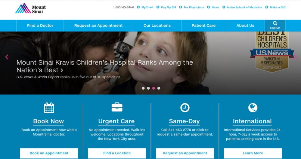 Mount Sinai medical website - weblium