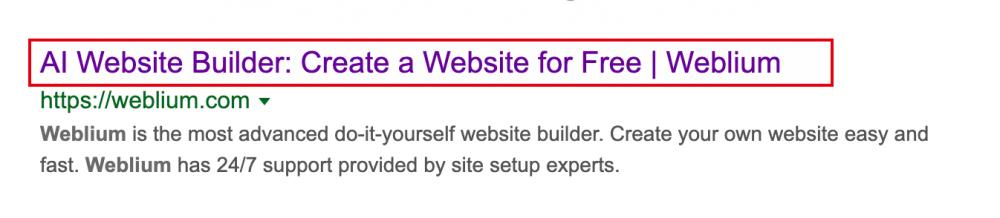 title in google looks like - weblium blog