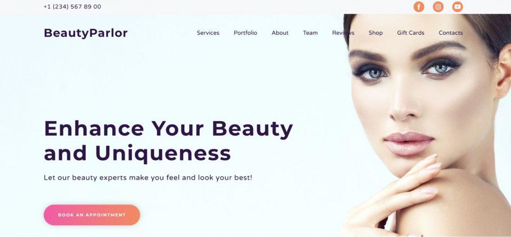 Beauty Salon pink template from Weblium