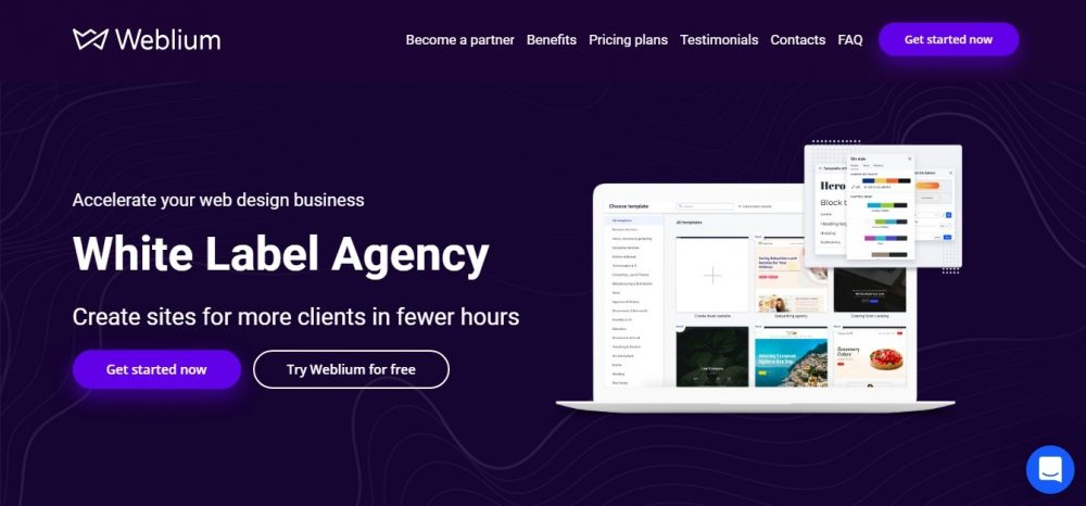White label agency (blue geometric background, (free Weblium template)