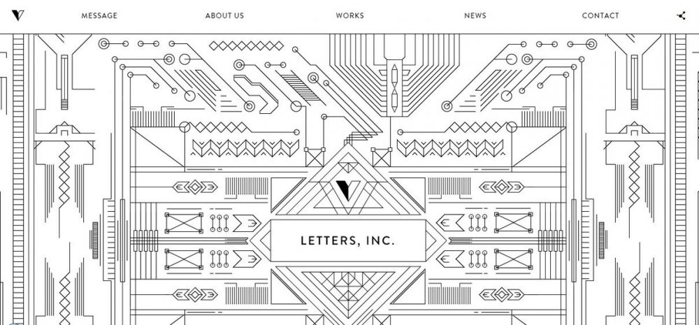 Letters (white geometric background)