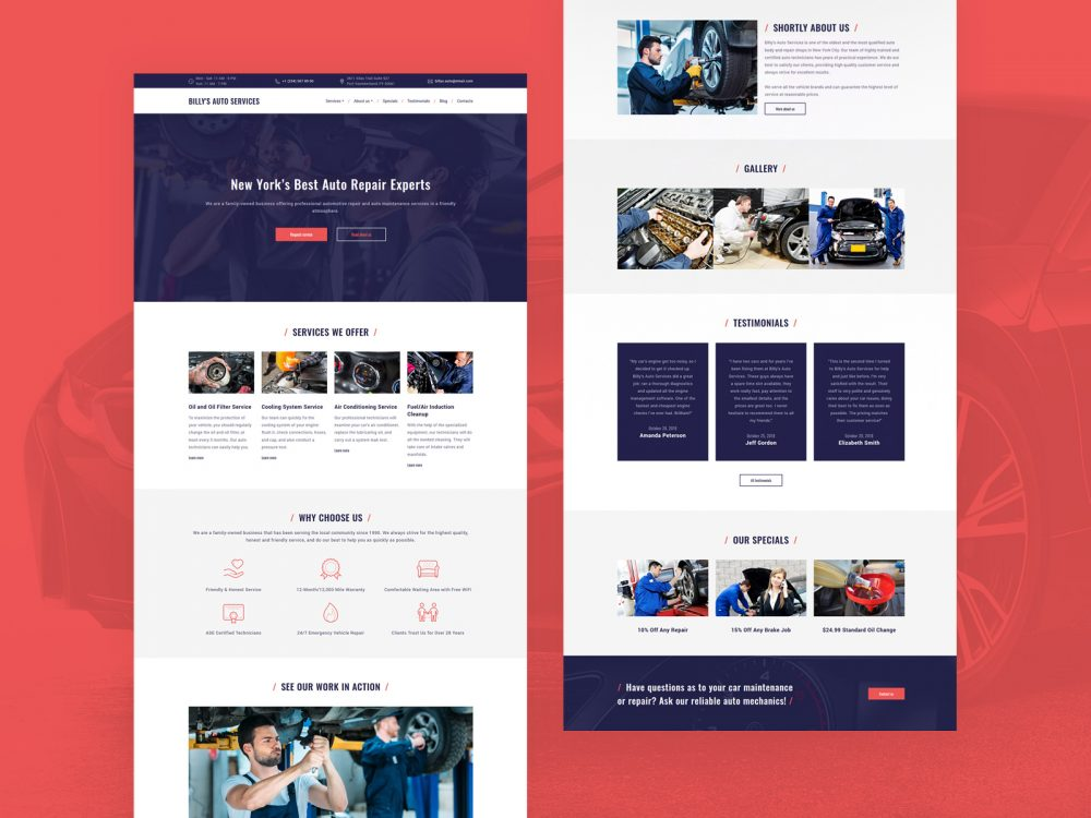 Billy's Auto Services - car repair website