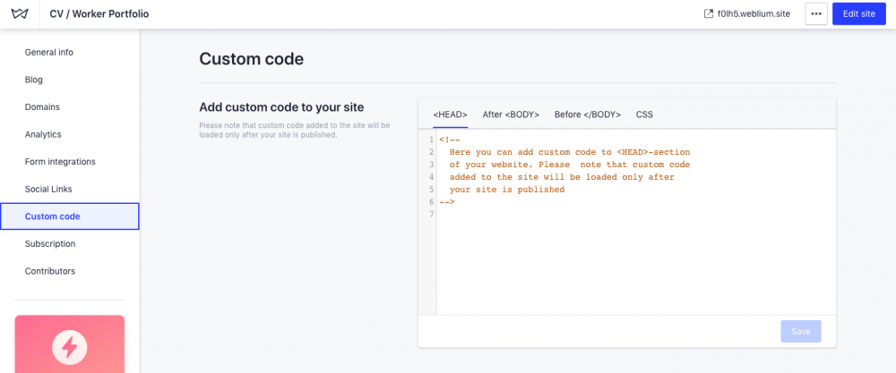 Add custom code - weblium
