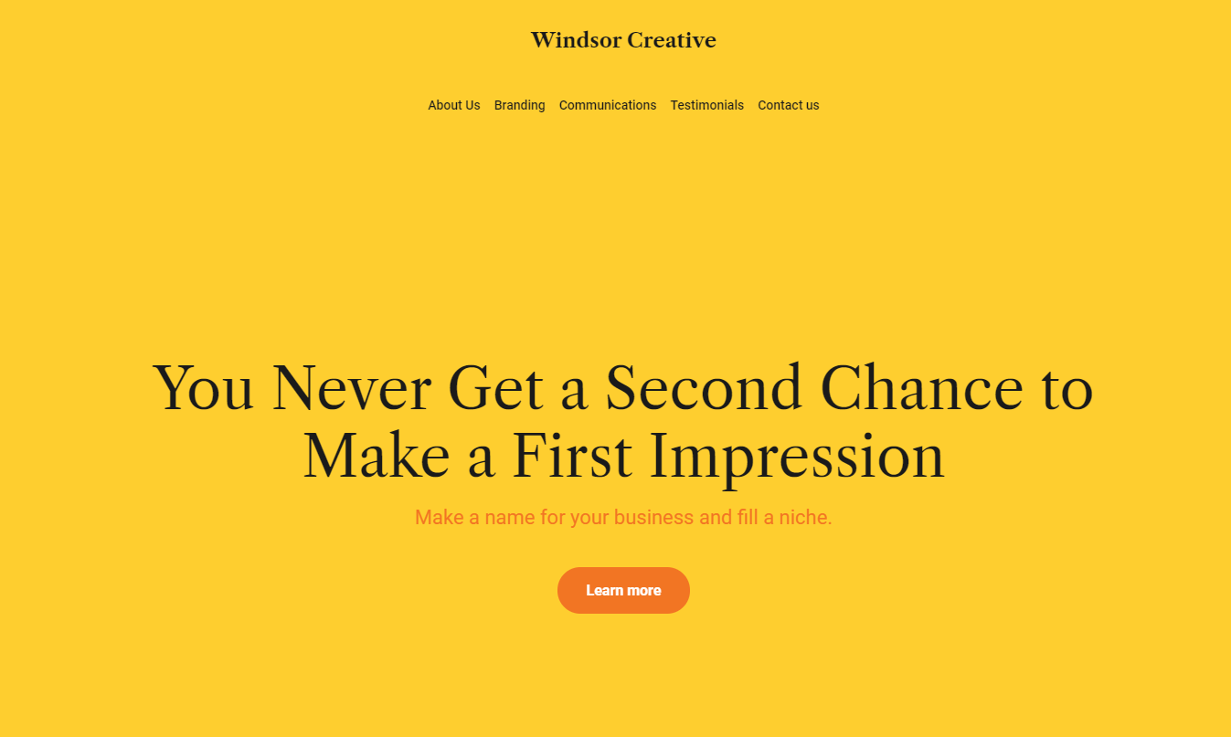 Branding agency website template from Weblium