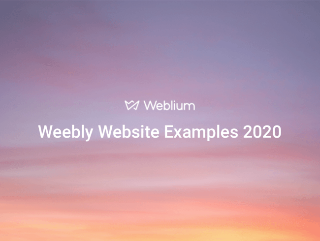Weebly Website Examples 2020